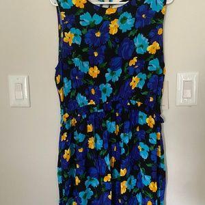 Zara Floral V-Back Dress in Size L